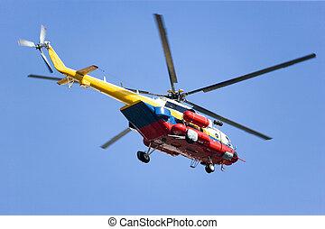 fogo, helicóptero, salvamento
