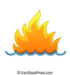fogo, ilustração, water.