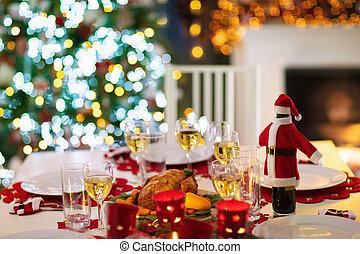fogo, jantar natal, árvore., lugar, xmas