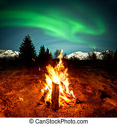 fogo, luzes, acampamento, norte, observar