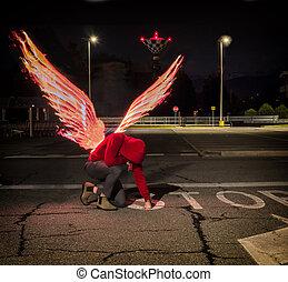 fogo, macho, caído, asas, anjo