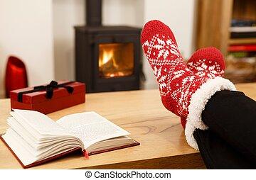 fogo, pés, inverno, frente