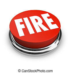 fogo, palavra, ligado, redondo, botão vermelho