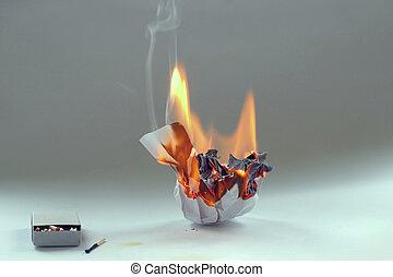 fogo, papel amarrotado, matchbox, queimadura