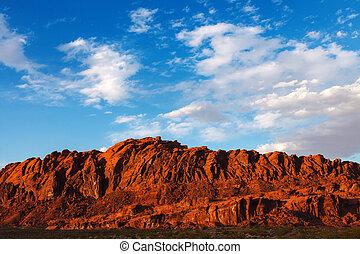 fogo, parque, pedras, estado, mojave, vale, deserto, vermelho