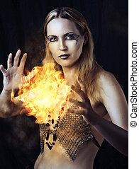 fogo, perigosa, mulher, feiticeira, bola