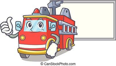 fogo, personagem, cima, caminhão, tábua, caricatura, polegares