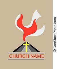 fogo, pomba, espírito, santissimo, igreja