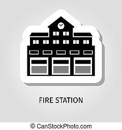 fogo, predios, adesivo, estação, pretas