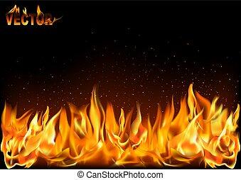 fogo, pretas, chamas, fundo