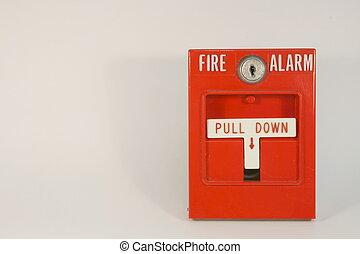 fogo, puxar, alarme, estação