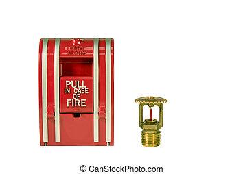 fogo, puxar, alarme, estação, irrigador