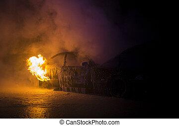 fogo, quase, completamente, nightshot, veículo, queimado