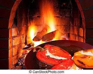fogo, queijo, pimenta, cabra, assado