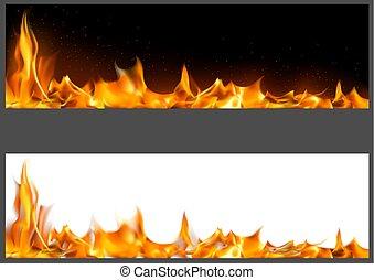 fogo, realístico, bandeiras, chamas