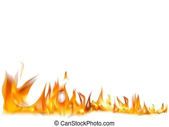 fogo, realístico, chamas, fundo