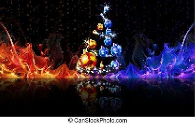 fogo, red-blue, bolas, árvore, natal