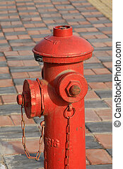 fogo, rua, hidrante, vermelho