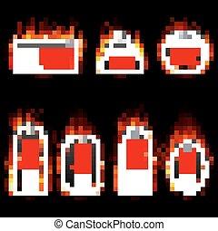 fogo, set., etiquetas, vetorial