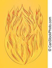 fogo, silueta, fundo, amarela