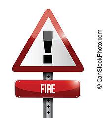 fogo, sinal aviso, ilustração, desenho