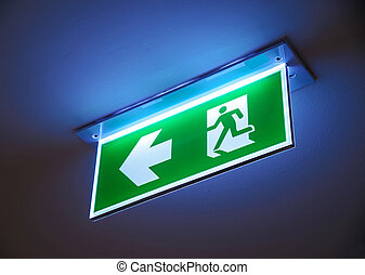 fogo, sinal., saída, emergência