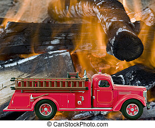 fogo, sobre, firetruck, fundo, chamas