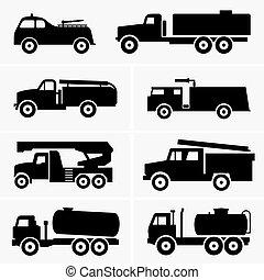 fogo, tanque, caminhões