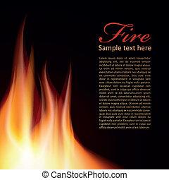 fogo, texto, desenho, fundo