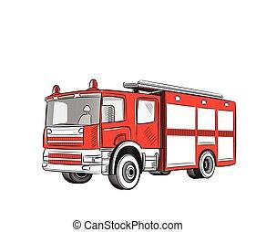 fogo, truck.