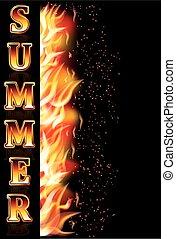 fogo, verão, vetorial, bandeira