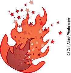 fogo, vermelho