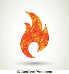 fogo, vetorial, ícone