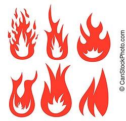 fogo, vetorial, ícones