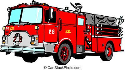 fogo, vetorial, caminhão, ilustração