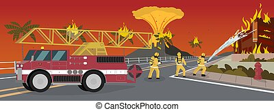 fogo, vetorial, caricatura, ilustração, extinguir