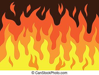 fogo, vetorial, -, caricatura