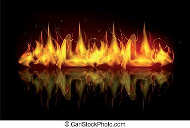 fogo, vetorial, chamas
