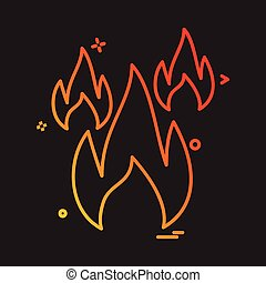 fogo, vetorial, desenho, ícone