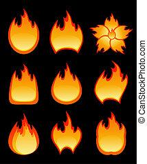 fogo, vetorial, jogo