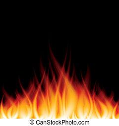 fogo, vetorial, pretas, ilustração, queimadura
