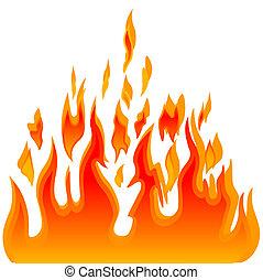 fogo, vetorial, queimadura, chama, fundo