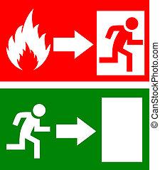 fogo, vetorial, saída assina