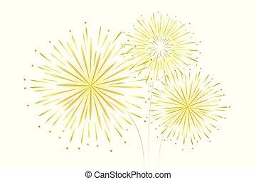 fogos artifício, ano, decoração, fundo, novo, partido, branca