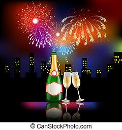 fogos artifício, champanhe