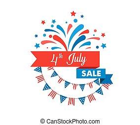 fogos artifício, cor, julho, 4th, americano, bandeiras, esguichos, fundo, fitas, dia, independência, celebração