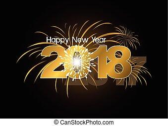 fogos artifício, desenho, 2018, ano, novo, feliz