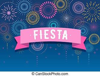 fogos artifício, desenho, fundo, fiesta, vencedor, vitória, cartaz, celebração