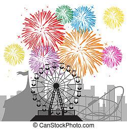 fogos artifício, e, silhuetas, de, um, cidade, e, parque...