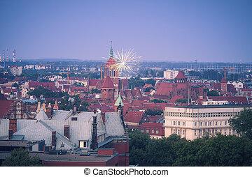 fogos artifício, em, gdansk